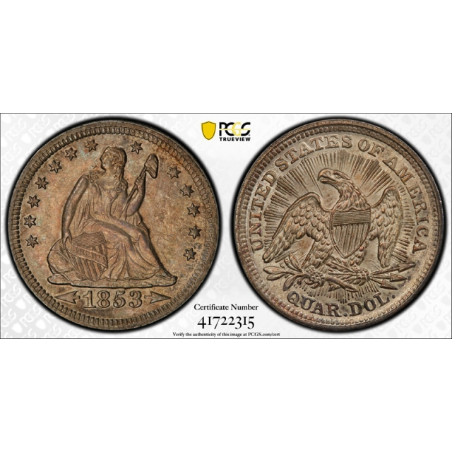 1853 25C Seated Liberty Quarter PCGS MS 62 Uncirculated Original Arrows & Rays
