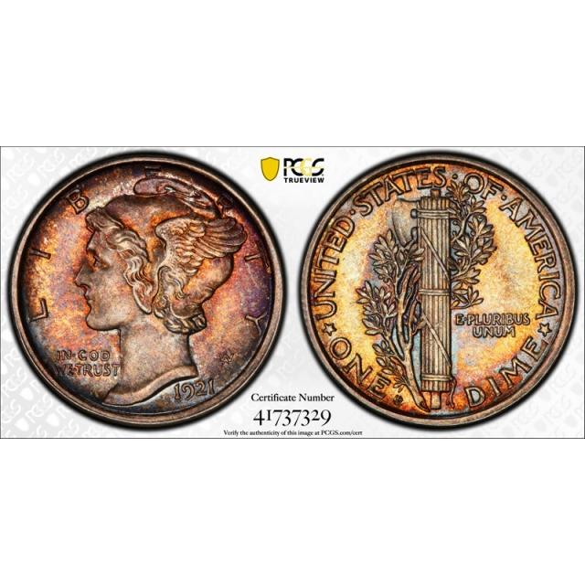 1921 D 10C Mercury Dime PCGS MS 65 FB Uncirculated Full Bands Key Date Colorful Toned Beauty !
