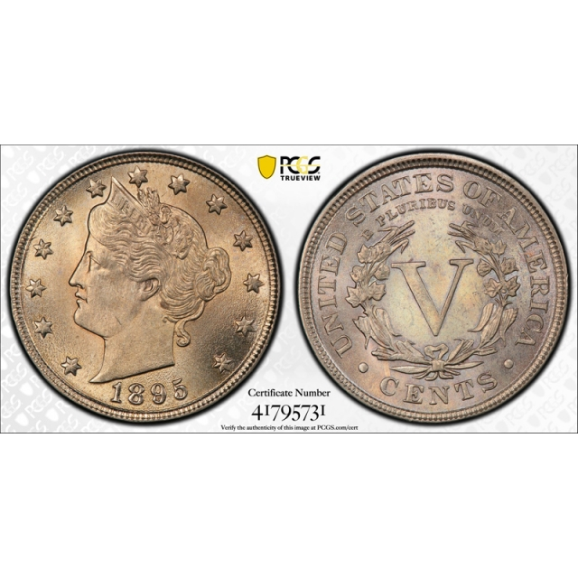 1895 5C Liberty Head Nickel PCGS MS 64 Uncirculated Exceptional Toned Beauty !
