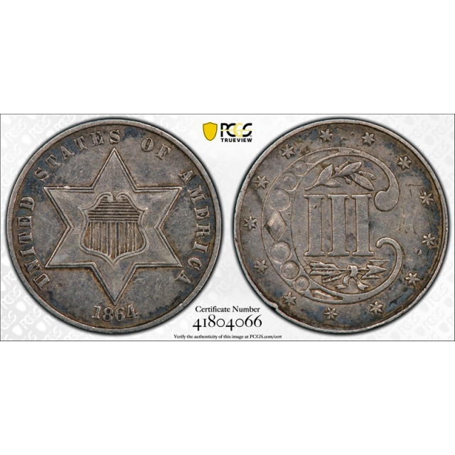 1864 3CS Three Cent Silver Piece PCGS XF 40 Extra Fine Key Date Tough Coin !