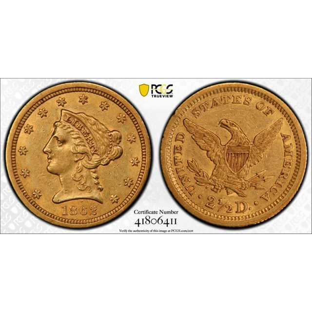 1862 $2.50 Liberty Head Quarter Eagle PCGS AU 55 CAC Approved Civil War Date !