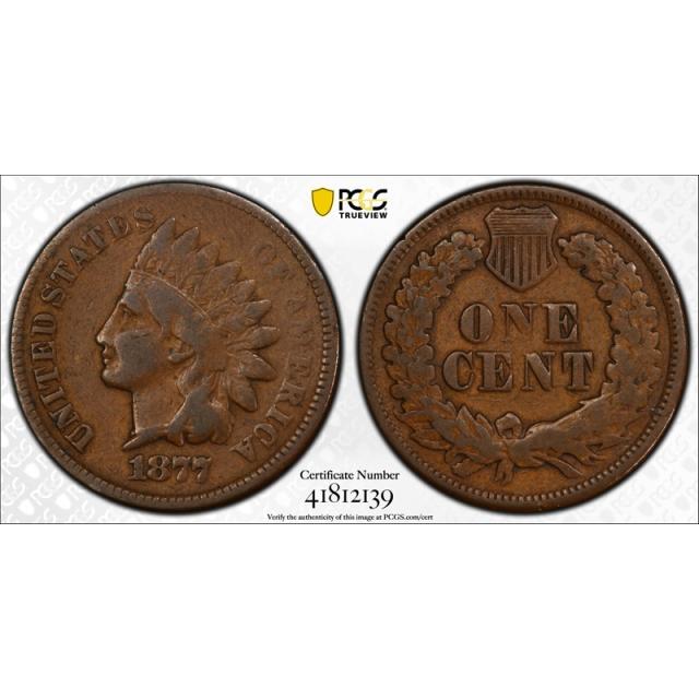 1877 1C Indian Head Cent PCGS F 12 Fine Key Date Original Tough Coin !