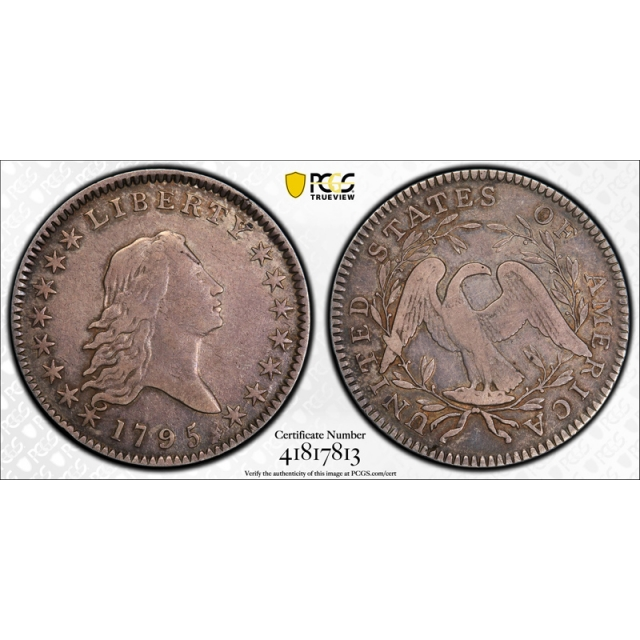 1795 50C Flowing Hair Half Dollar PCGS VF 30  A over E in STATES Very Fine to Extra FIne