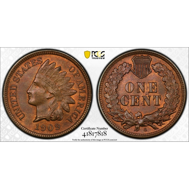 1909 S 1C Indian Head Cent PCGS MS 65 BN Uncirculated CAC Approved Looks RB !