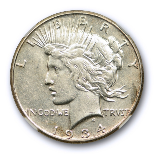 1934 S $1 Peace Dollar NGC AU 50 About Uncirculated Better Date Tough Grade !