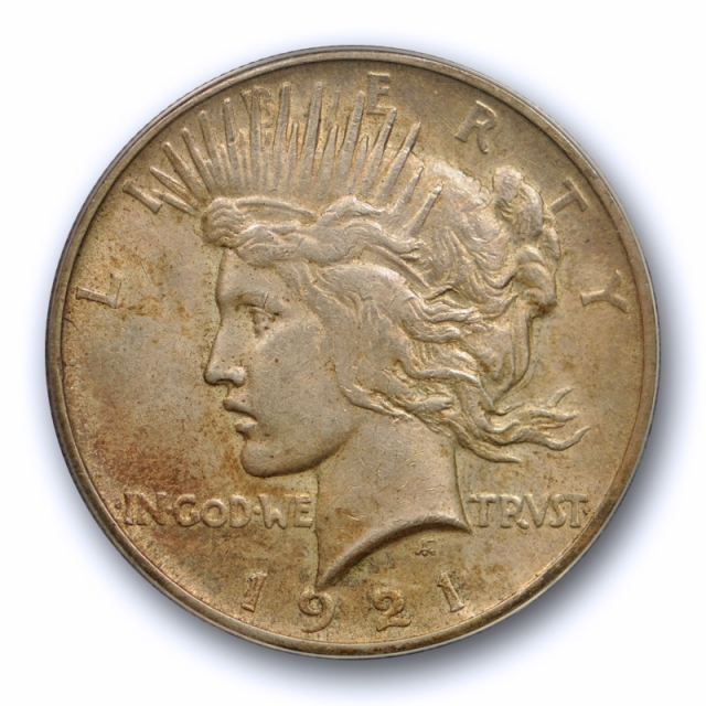 1921 $1 Peace Dollar ANACS MS 61 Uncirculated Toned Key Date High Relief