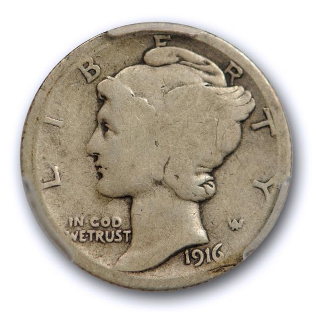 1916 D 10C Mercury Dime PCGS AG 3 About Good Denver Mint Key Date Original Cert#4298