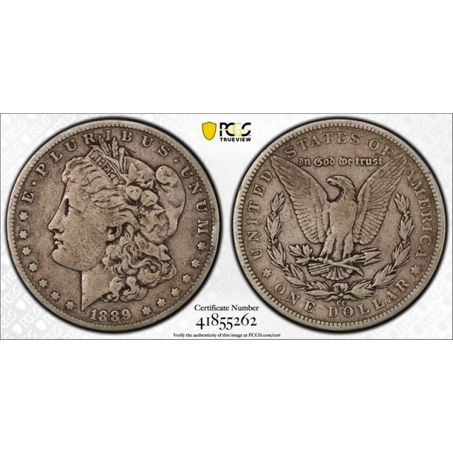 1889 CC $1 Morgan Dollar PCGS F 15 Fine to Very Fine Key Date CAC Approved !