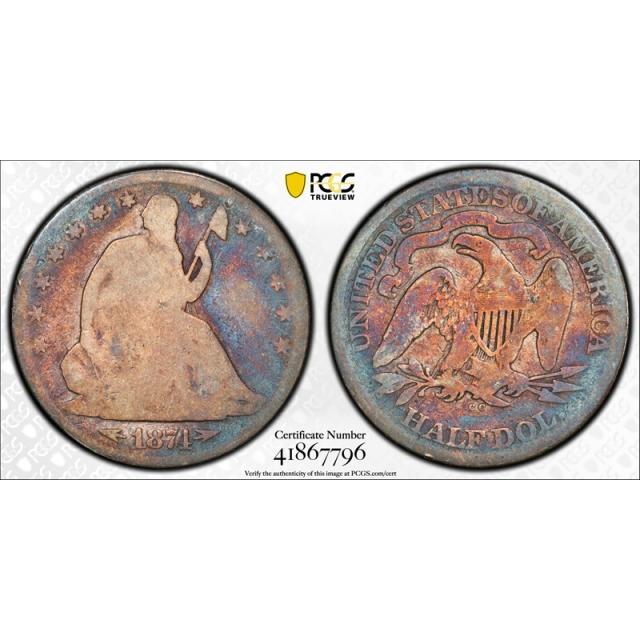 1874 CC 50C Seated Liberty Half Dollar PCGS AG 3 Carson City Key Date Toned !