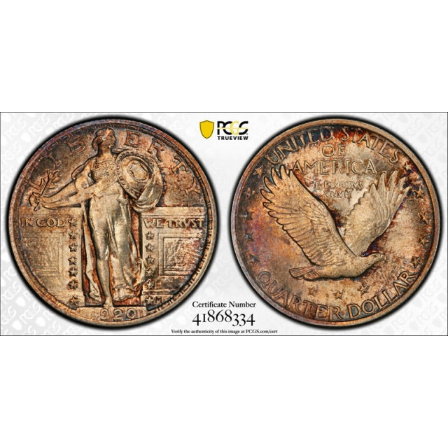 1920 25C Standing Liberty Quarter PCGS MS 65 FH Uncirculated Full Head Toned !