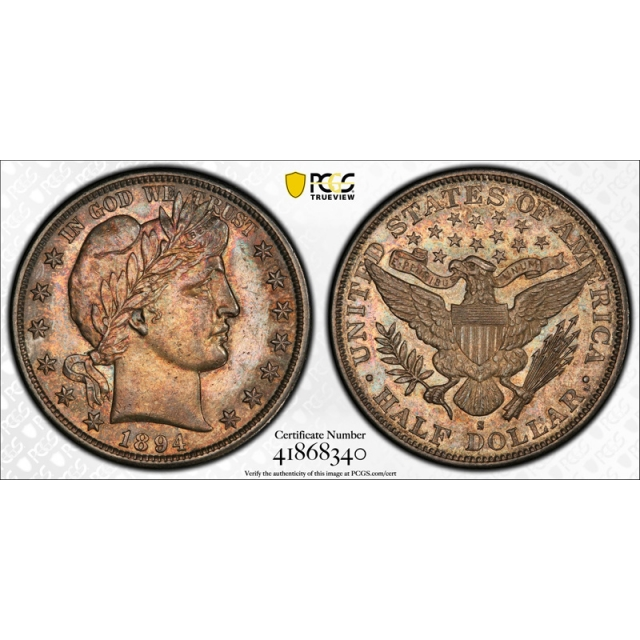 1894 S 50C Barber Half Dollar PCGS AU 58 About Uncirculated CAC Approved Toned !