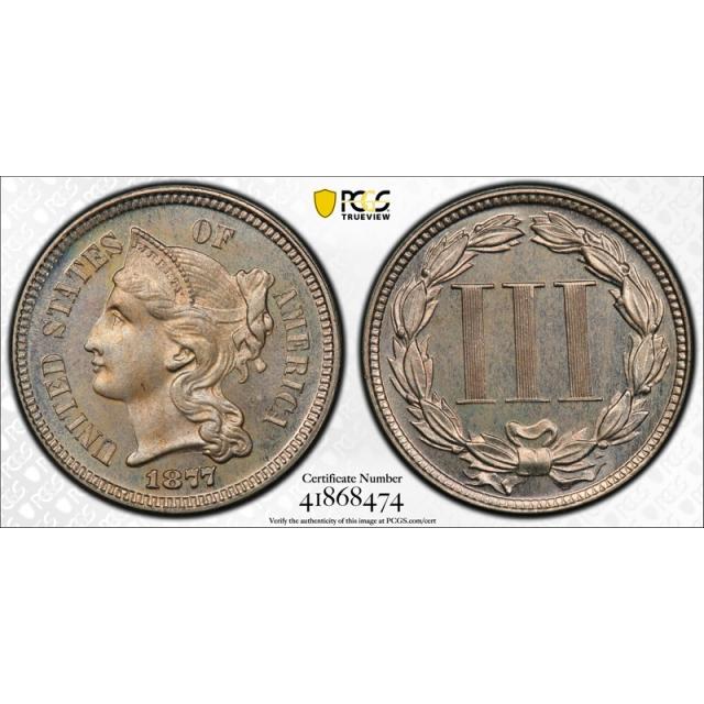 1877 3CN Three Cent Nickel PCGS PR 64 Proof Key Date CAC Approved Original Cert#8474
