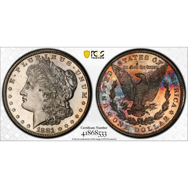 1881 S $1 Morgan Dollar PCGS MS 65 Uncirculated Looks PL & Toned Beauty !
