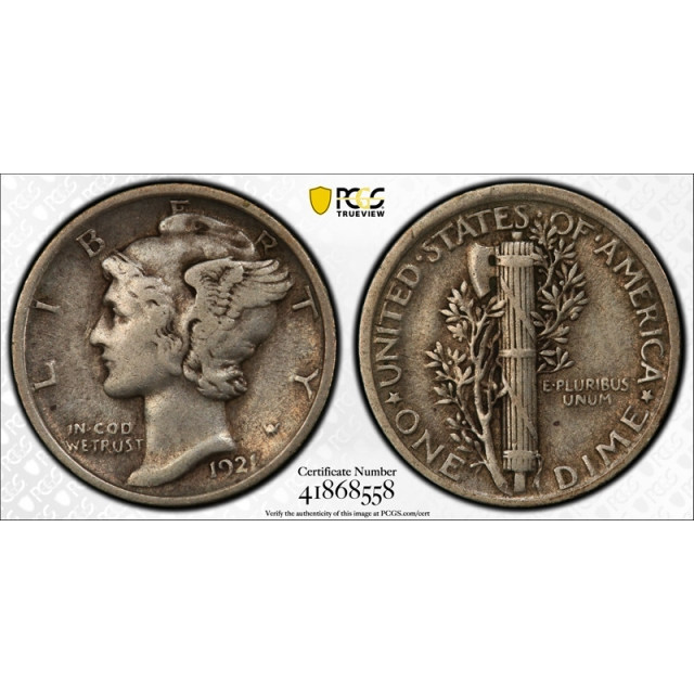 1921 10C Mercury Dime PCGS VF 35 Very Fine to Extra Fine Key Date Rotated Dies !