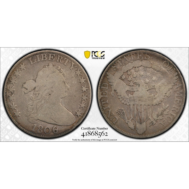 1806 50C 6 over Inverted 6 Draped Bust Half Dollar PCGS VG 8 Very Good 6/9