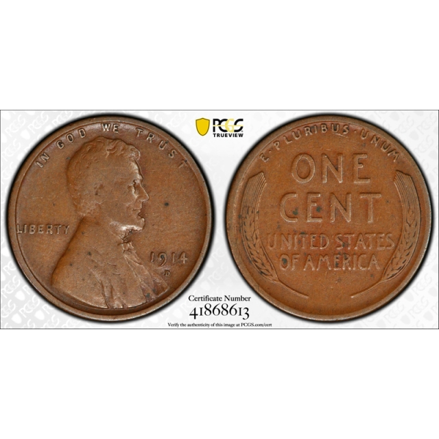 1914 D 1C Lincoln Wheat Cent PCGS F 15 Fine to Very Fine Key Date Denver Mint