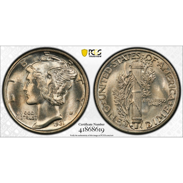 1931 S 10C Mercury Dime PCGS MS 66 Uncirculated CAC Approved Stunning !