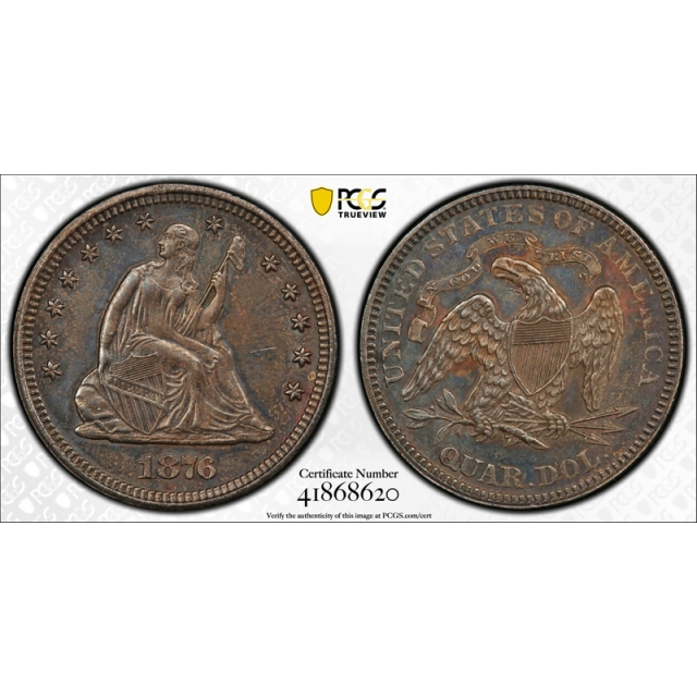 1876 25C Seated Liberty Quarter PCGS AU 53 About Uncirculated Original Toned