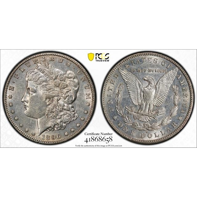 1896 S $1 Morgan Dollar PCGS AU 50 About Uncirculated Better Date Tough !