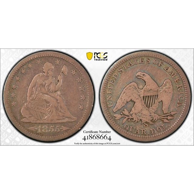 1855 S 25C Seated Liberty Quarter PCGS F 15 Fine to Very Fine Key Date Tough !