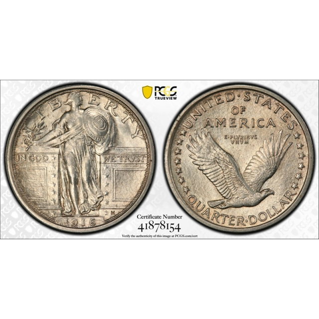 1916 25C Standing Liberty Quarter PCGS MS 61 Uncirculated Key Date Exceptional Coin !