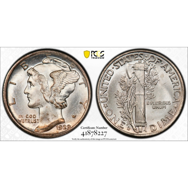 1929 D 10C Mercury Dime PCGS MS 67 CAC Approved Stunning Coin !