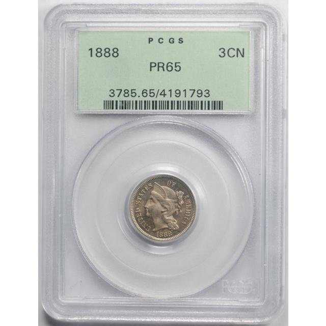 1888 3CN Three Cent Nickel PCGS PR 65 Proof Original OGH Old Holder Nice !