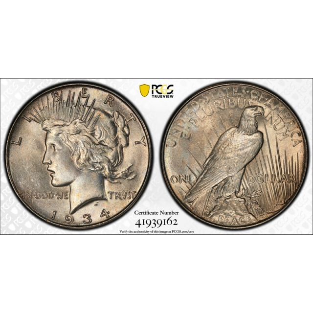 1934 $1 Peace Dollar PCGS MS 64 Uncirculated Lightly Toned Better Date Original