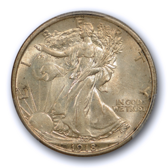 1918 50C Walking Liberty Half Dollar PCGS AU 58 About Uncirculated CAC Approved !