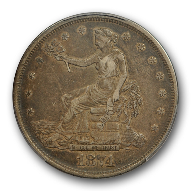 1874 T$1 Trade Dollar PCGS VF 35 Very Fine to Extra Fine CAC Approved Tough Date !