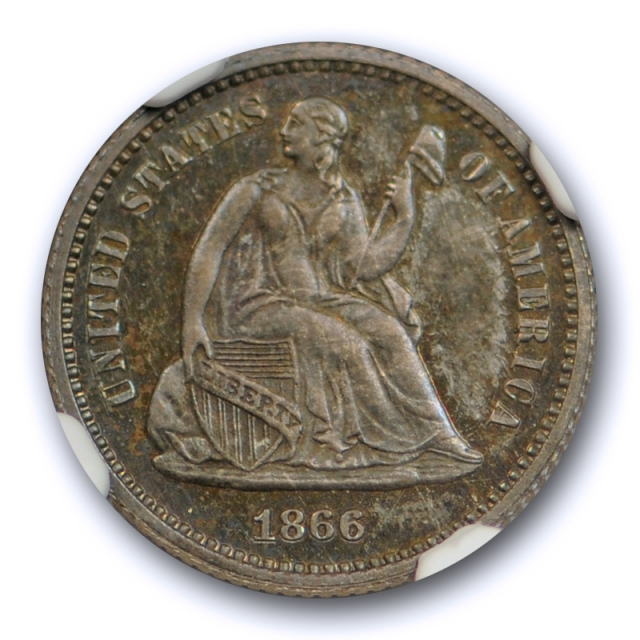 1866 Seated Liberty Half Dime NGC PF 65 Proof Key Date Original Toned Coin