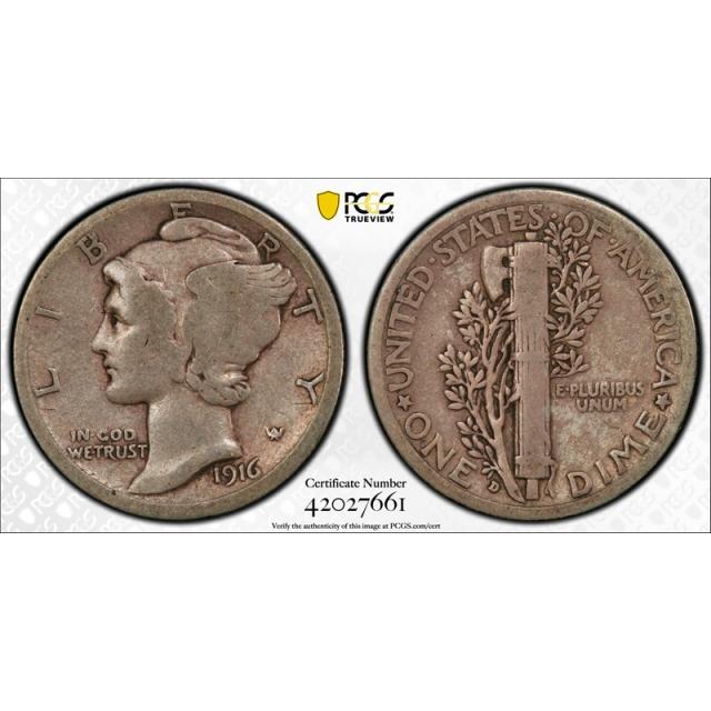1916 D 10C Mercury Dime PCGS VG 8 Very Good Denver Mint Key Date CAC Approved Cert#7661