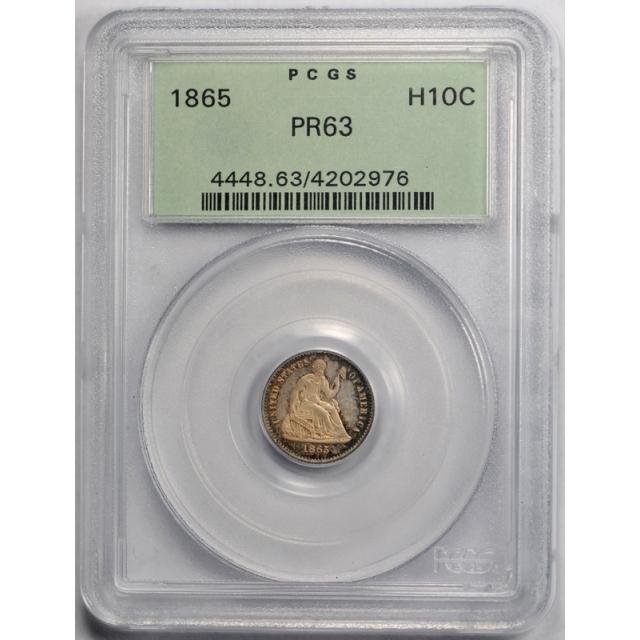1865 H10C Seated Liberty Half Dime PCGS PR 63 Proof Key Date OGH Old Holder ! Cert#2976