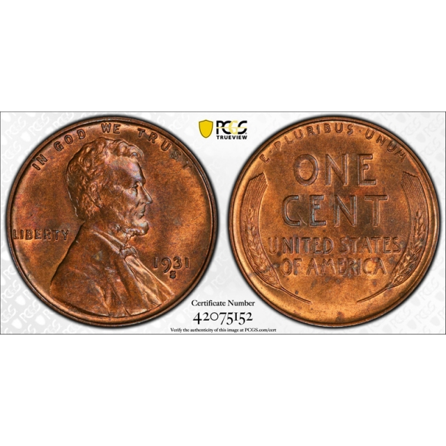 1931 S 1C Lincoln Wheat Cent PCGS MS 64 RB Uncirculated Red Brown Key Date Cert#5152