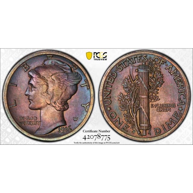 1916 D 10C Mercury Dime PCGS AU About Uncirculated Details Cleaned Toned Beauty !