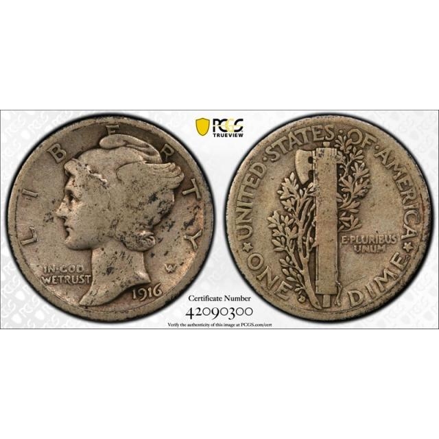1916 D 10C Mercury Dime PCGS VG 8 Very Good Denver Mint Key Date Full Rims Cert#0300