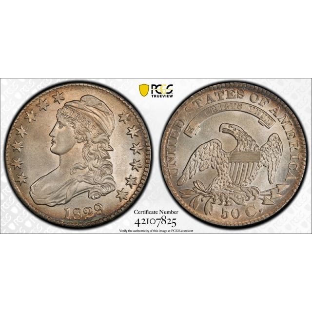 1829 50C Capped Bust Half Dollar PCGS AU 55 Overton 103 O-103 Small Letters