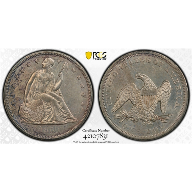 1860 O $1 Seated Liberty Dollar PCGS AU 58 About Uncirculated Original !