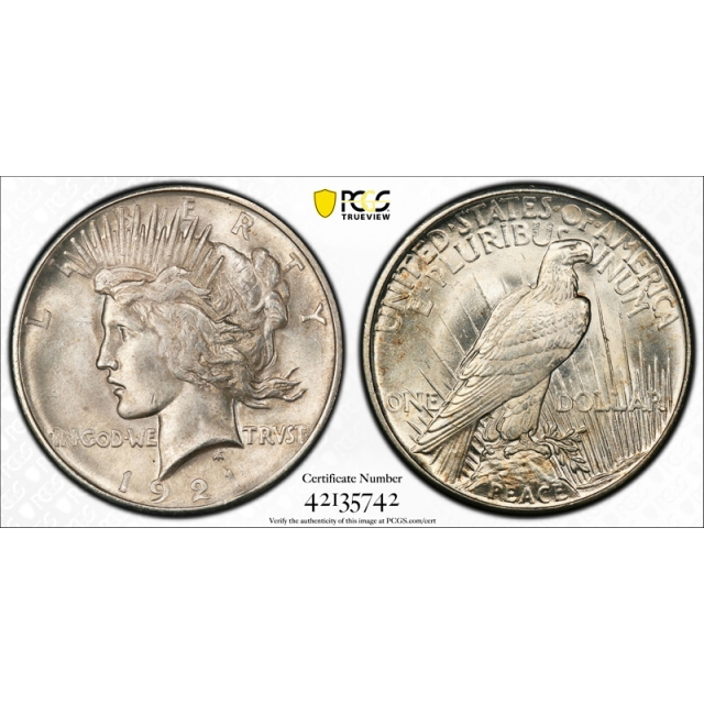 1921 $1 Peace Dollar High Relief PCGS MS 62 High Relief Uncirculated Key Date