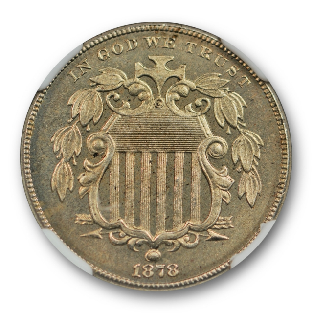 1878 5c Proof Shield Nickel NGC PF 65 CAC Approved Key Date Lightly Toned Nice Cert#3007