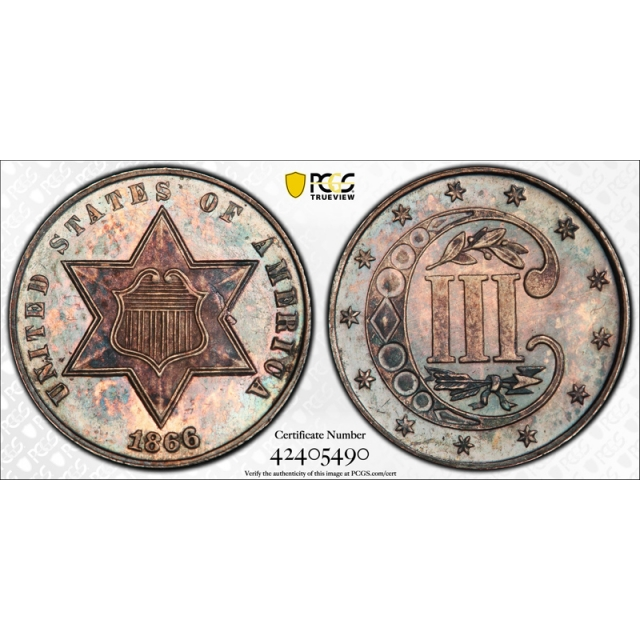 1866 3CS Three Cent Silver Piece Proof PCGS PR 63 Key Date Purple Toned !