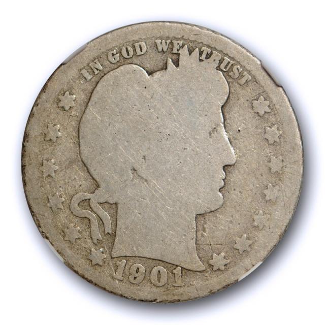 1901 S 25c Barber Quarter NGC AG 3 About Good Key Date San Francisco Mint Cert#7020