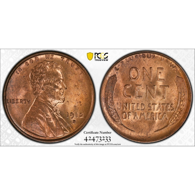 1912 S 1C Lincoln Wheat Cent PCGS MS 64 RD Uncirculated CAC Approved