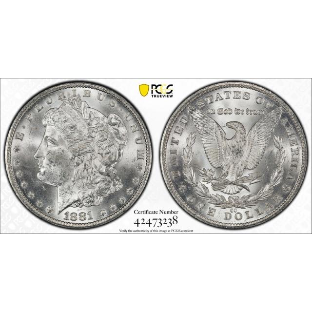 1881 CC $1 Morgan Dollar PCGS MS 63 Uncirculated Carson City Mint Nice !