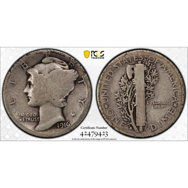 1916 D 10C Mercury Dime PCGS G 4 Good Denver Mint CAC Approved Key Date Cert#9423