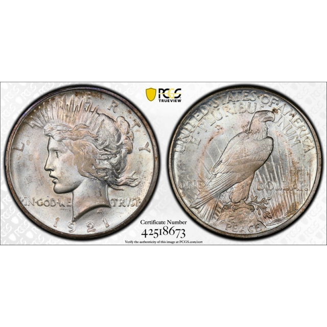 1921 $1 Peace Dollar High Relief PCGS MS 65 Uncirculated Key Date Frosty Look !