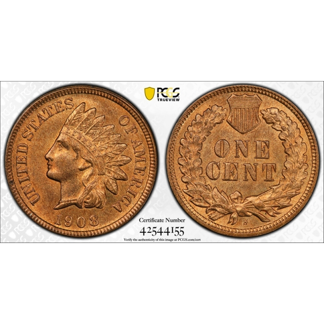 1908 S 1C Indian Head Cent PCGS MS 65 RB Uncirculated CAC Approved RED ? !
