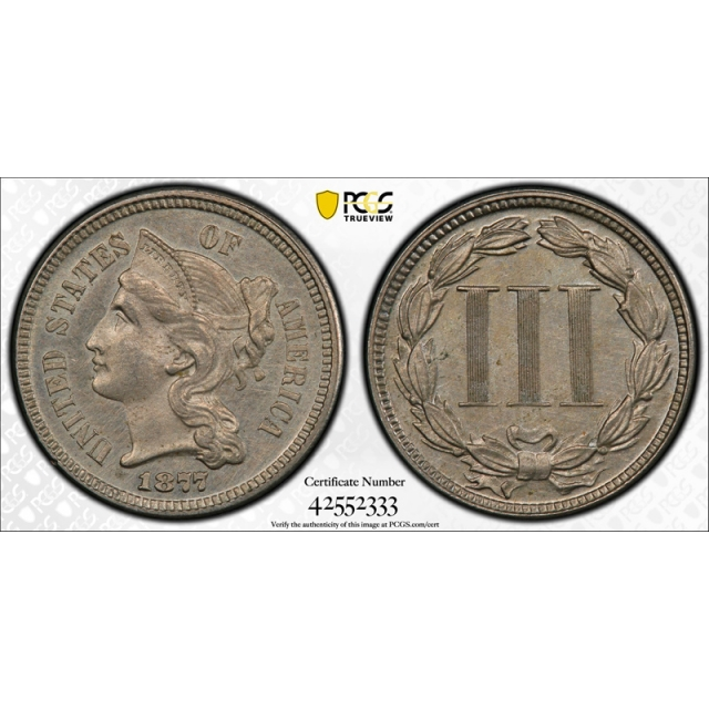 1877 3CN Proof Three Cent Nickel PCGS Uncirculated Details Key Date Tough
