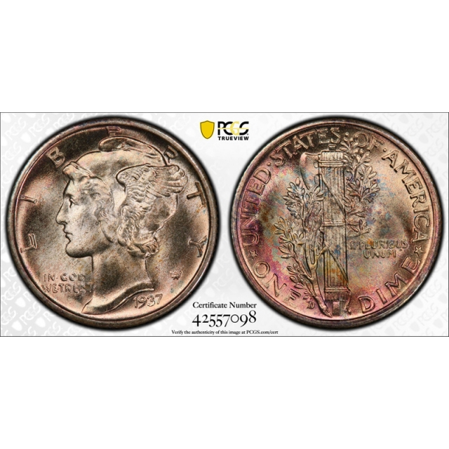1937 D 10C Mercury Dime PCGS MS 67+ FB CAC Approved Full Bands Stunning !