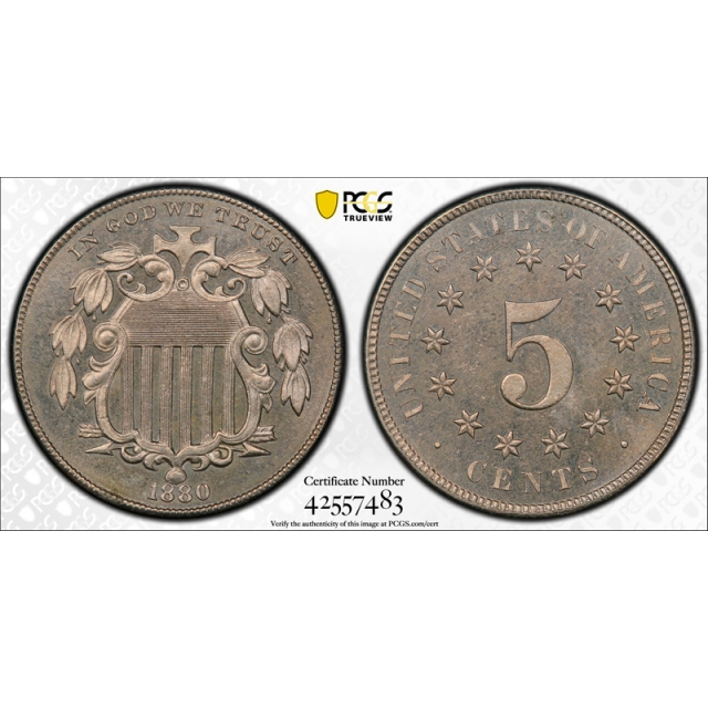 1880 5C Shield Nickel PCGS PR 65 Proof Key Date Coin CAC Approved Beautiful !